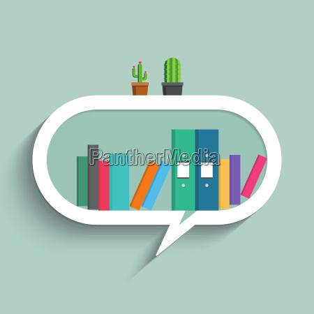 bookshelf in form of speech bubble