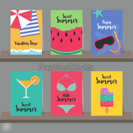 set of summer background for greeting