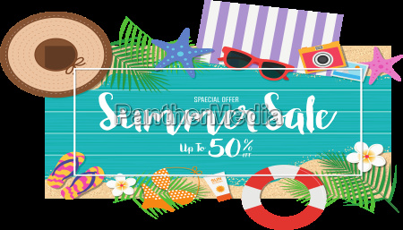 summer sale background top view with