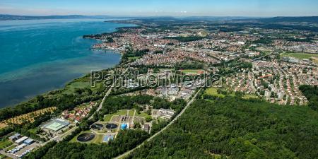 aerial view of friedrichshafen on lake