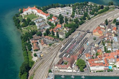 aerial view of lindau peninsula at