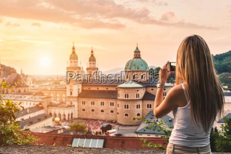 tourist taking a photo of beatiful