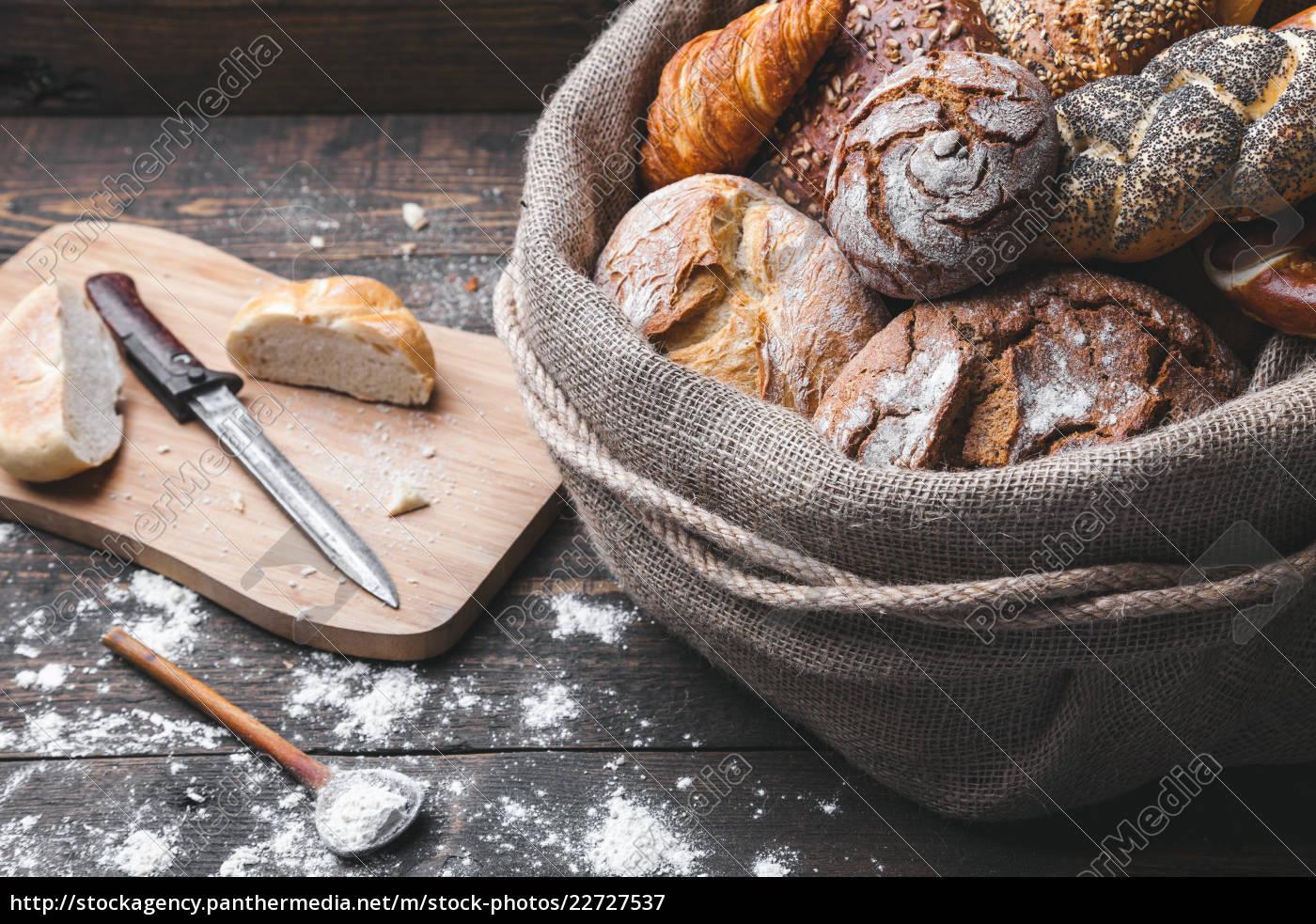 delicious, fresh, bread, inside, a, sack - 22727537