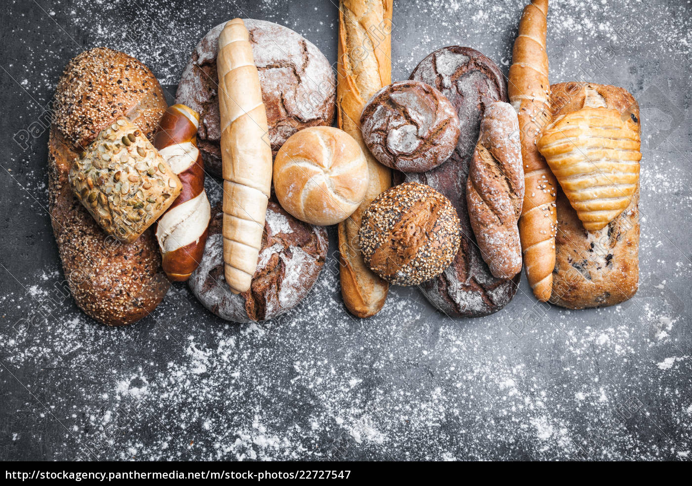 delicious, fresh, bread, on, rustic, background - 22727547