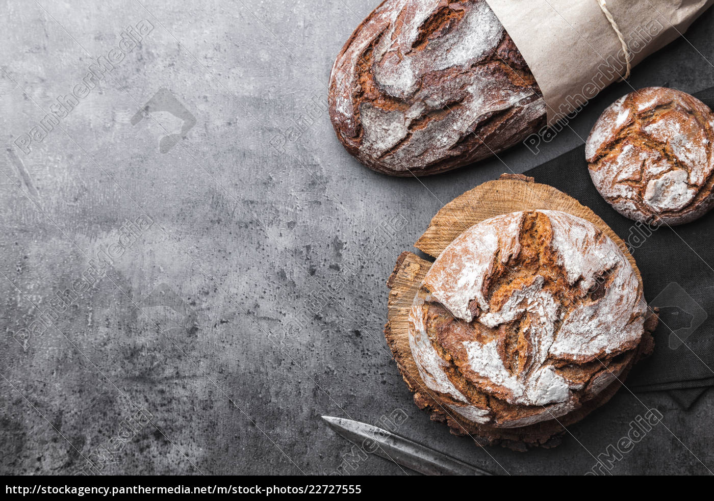 delicious, fresh, bread, on, rustic, background - 22727555