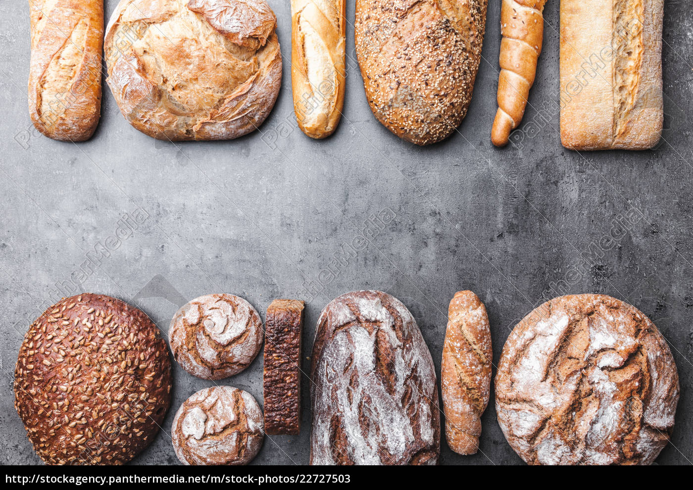 delicious, fresh, bread, on, wooden, background - 22727503