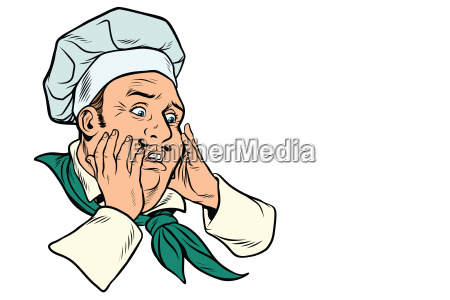 male cook scared gesture