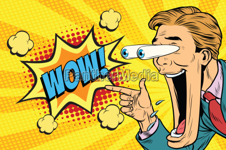 hyper expressive reaction cartoon wow man