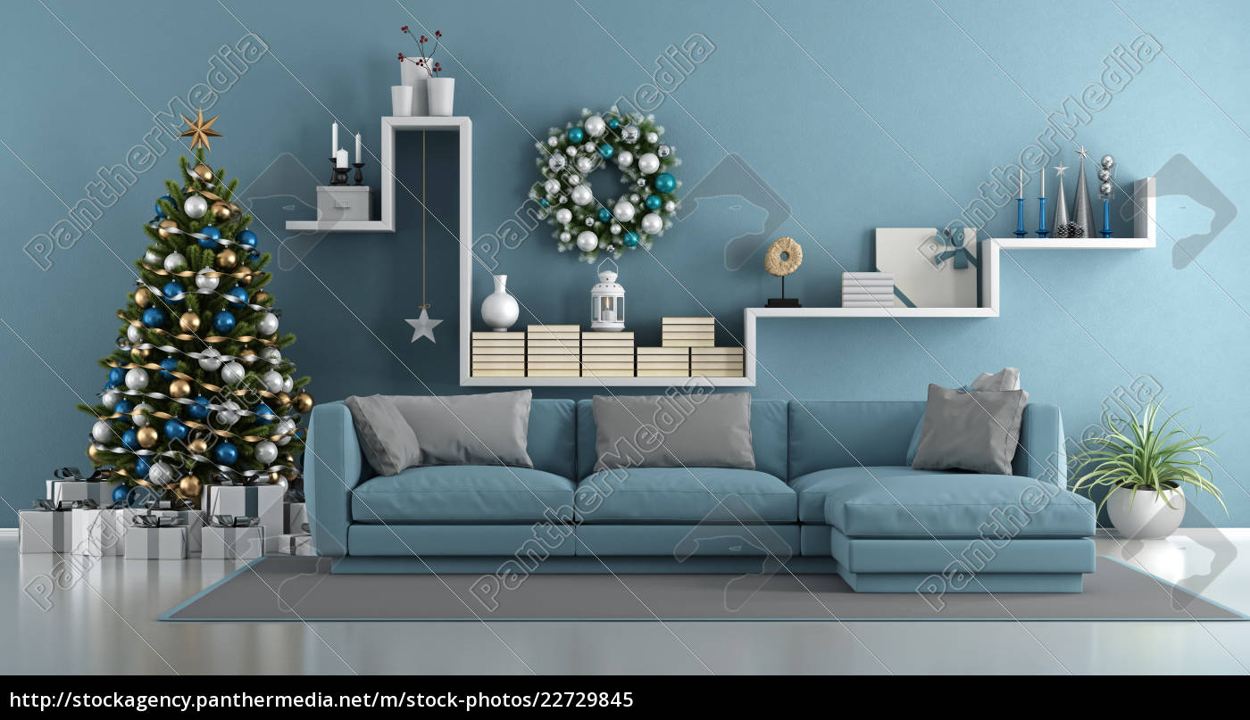 blue, modern, living, room, with, christmas - 22729845
