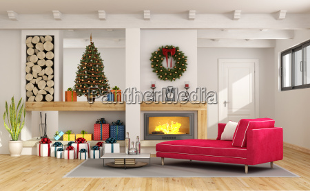living, room, with, christmas, decorations - 22729841