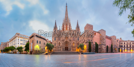 barcelona cathedral in the morning spain