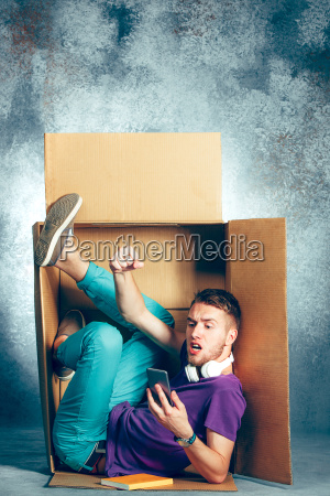 introvert, concept., man, sitting, inside, box - 22734735