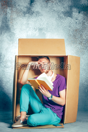 introvert, concept., man, sitting, inside, box - 22734849