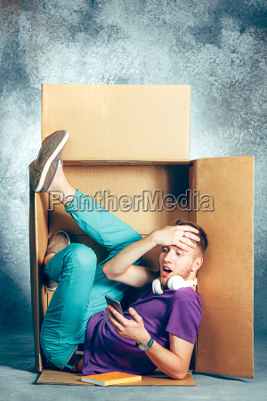 introvert, concept., man, sitting, inside, box - 22734851