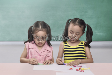 pretty, asian, children, drawing, together, on - 22738307