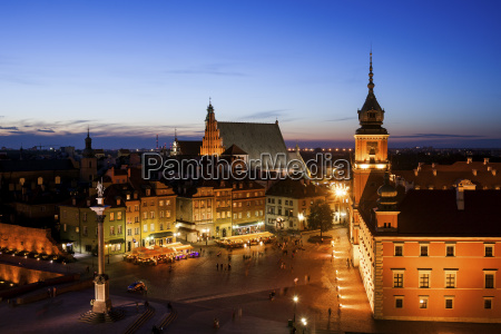 poland warsaw old town at twilight