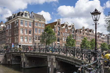 netherlands amsterdam town canal bridge in