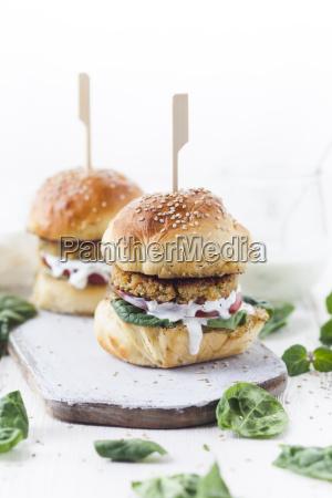 vegetarian burger with halloumi zucchini carrot