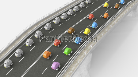 toy car traffic on motorway 3d