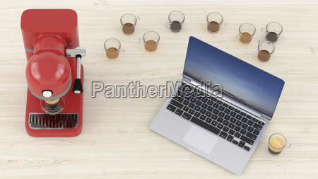 3d rendering laptop on desk with
