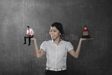 asian, business, woman, choose, two, man - 22752927