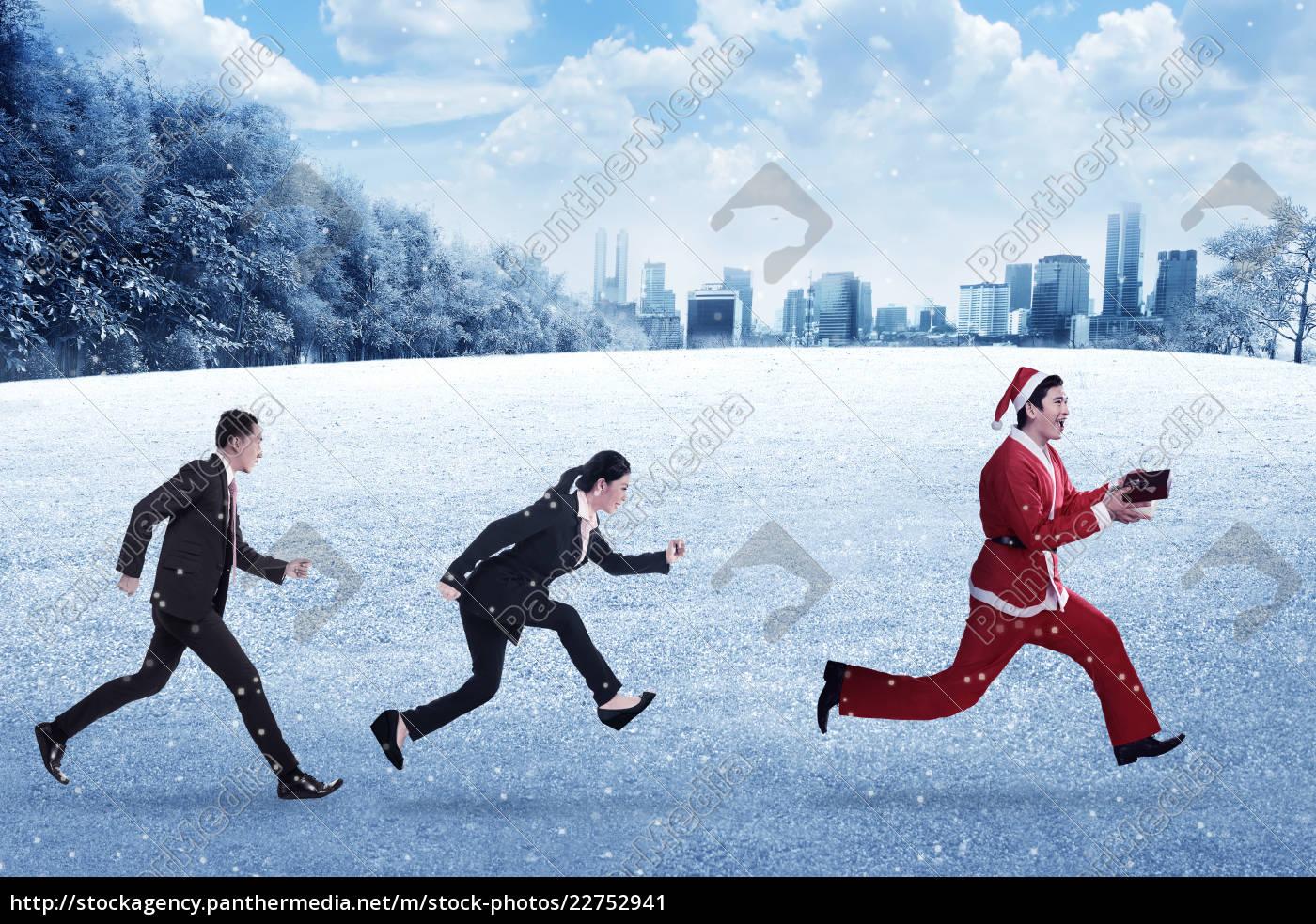 business, people, chasing, santa, claus - 22752941