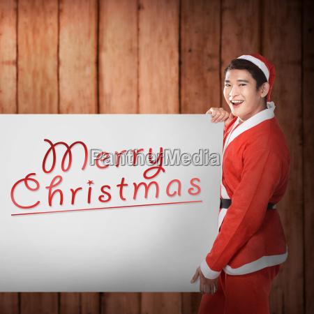 man, wearing, santa, claus, costume, holding - 22752963