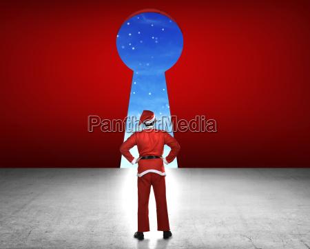 man, wearing, santa, claus, costume, looking - 22752951