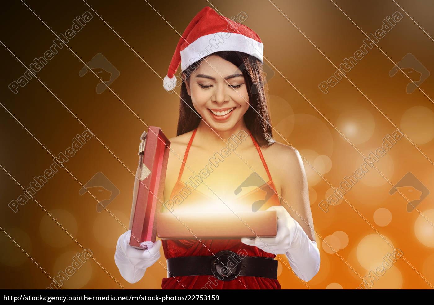 christmas, santa, woman, opening, gift, box - 22753159