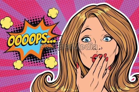oops surprised pop art woman face