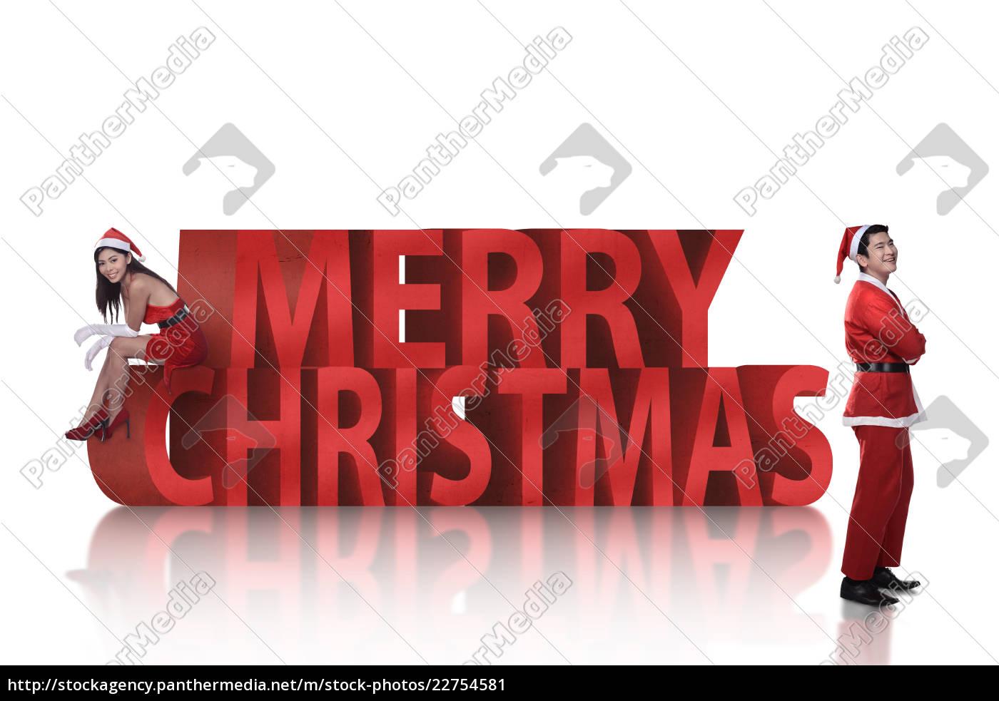 asian, couple, in, santa, claus, costume - 22754581