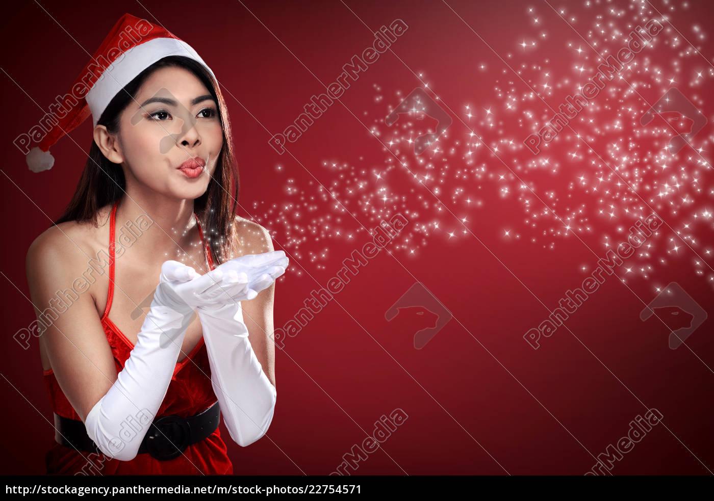 asian, woman, in, santa, claus, costume - 22754571