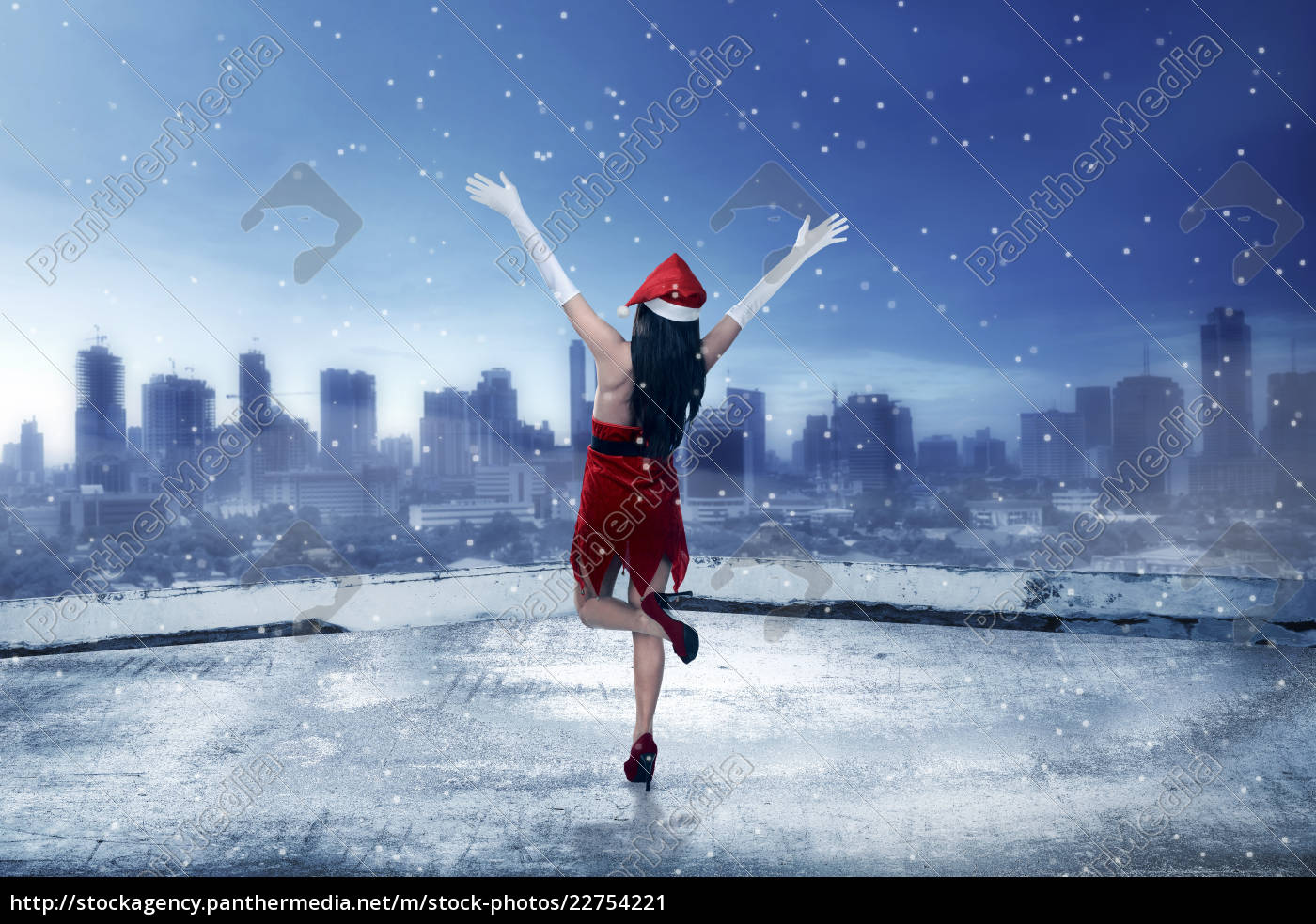 asian, woman, wearing, santa, claus, costume, - 22754221