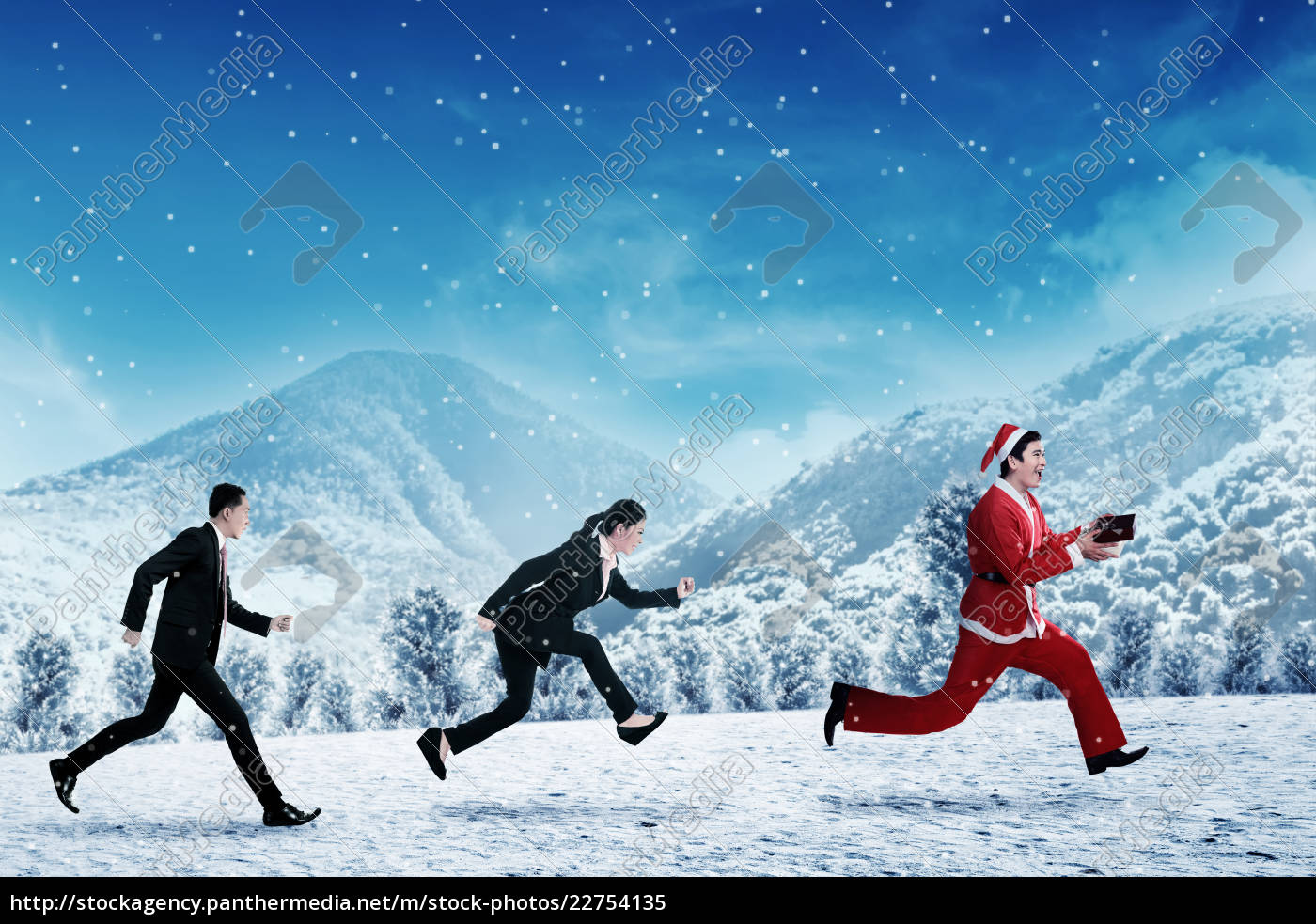 business, people, chasing, santa, claus - 22754135