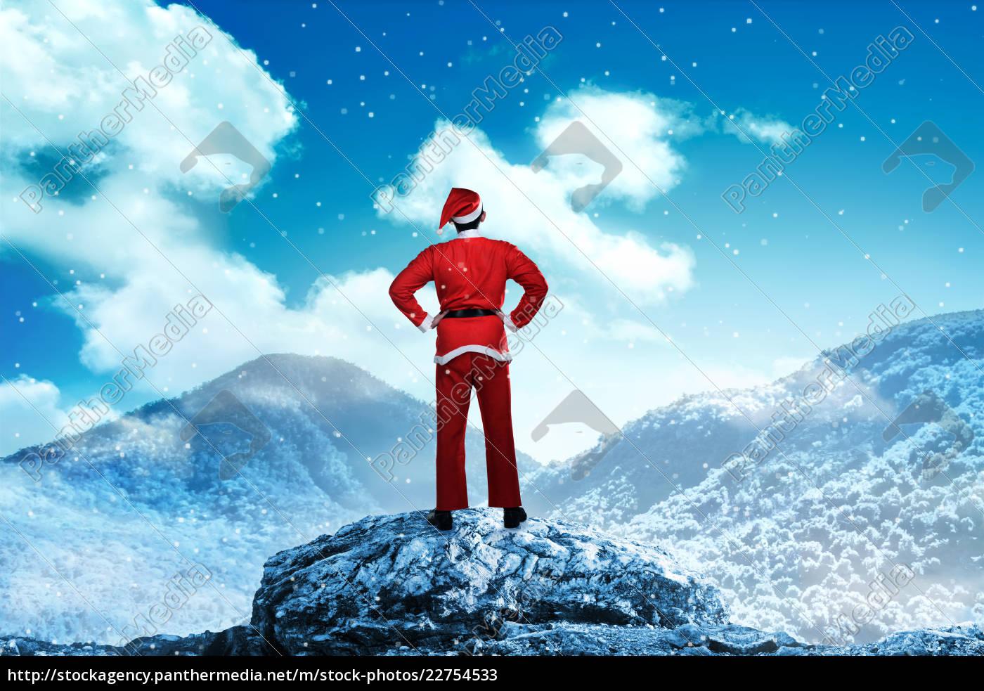 man, wearing, santa, claus, costume, on - 22754533