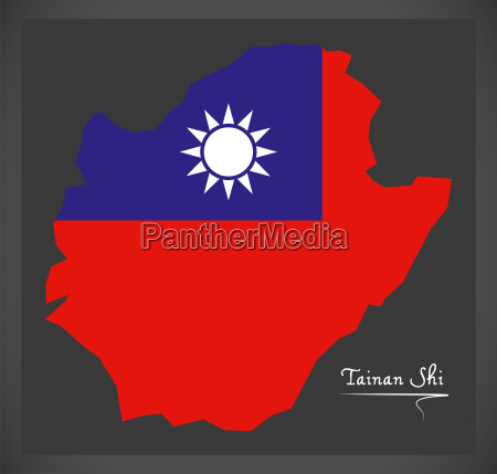 tainan shi taiwan map with taiwanese