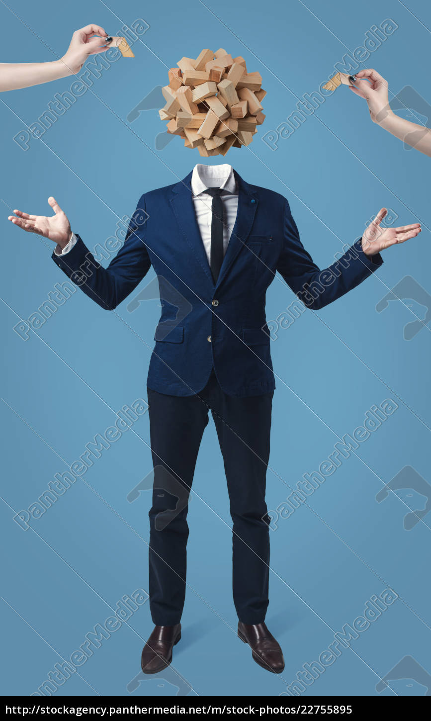 businessman, with, game, cube, box, instead - 22755895