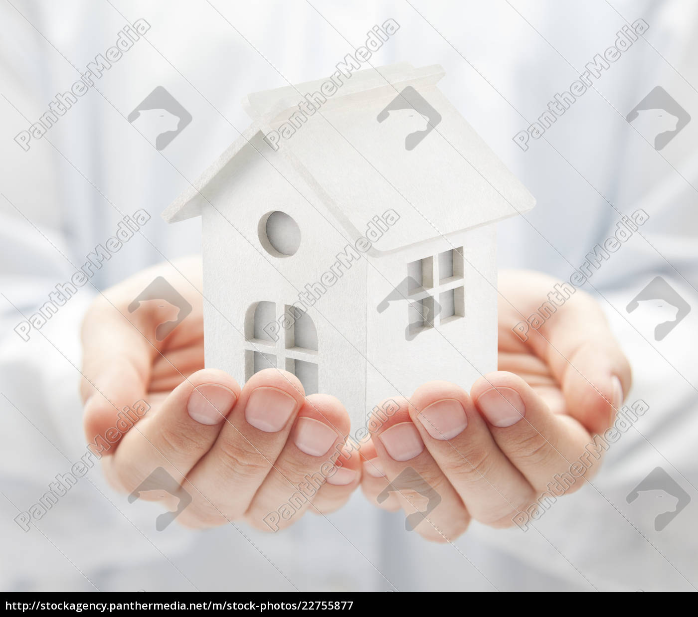 small, white, toy, house, in, hands - 22755877