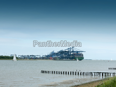 cargo shipping industry landscape river coast