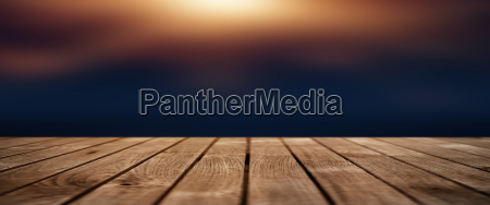 dark blue background with lighted wooden