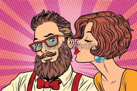 heterosexual couple beautiful woman kisses a