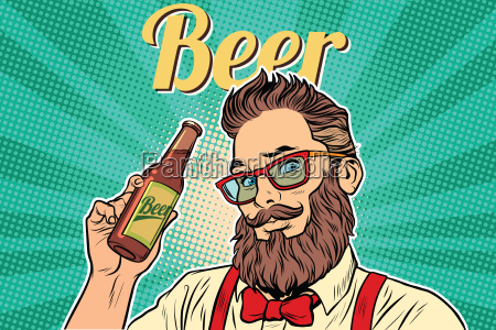 bearded, hipster, beer - 22762543