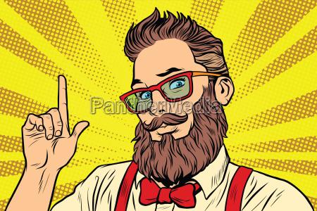 bearded, hipster, man, portrait, pointing, finger - 22762569