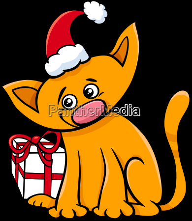 cartoon, cat, with, christmas, present - 22762105