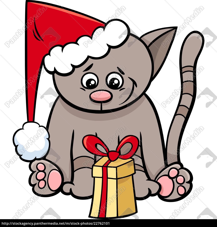 cat, with, xmas, present, cartoon - 22762101