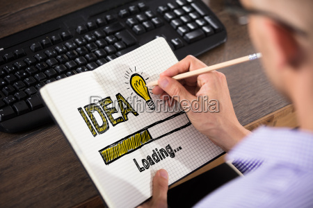 businessman drawing idea concept in office