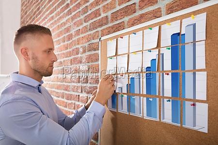 businessman, arranging, graph, notes, on, corkboard - 22763817