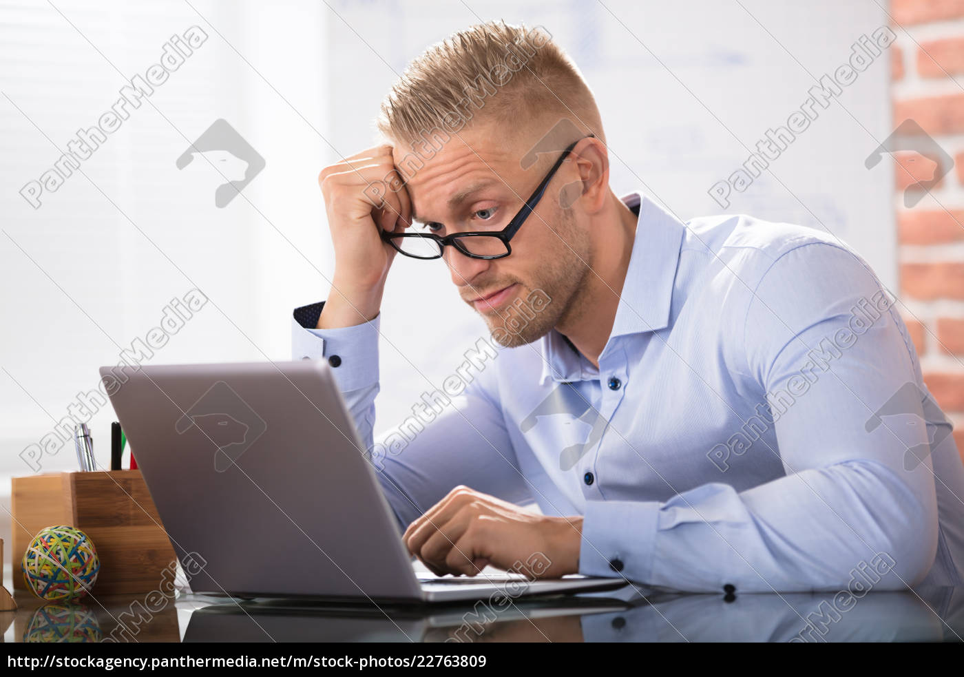 contemplated, businessman, in, office - 22763809