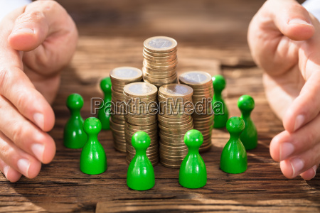 hands, protecting, the, coin, stack, and - 22763775