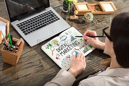businesswoman drawing digital marketing chart
